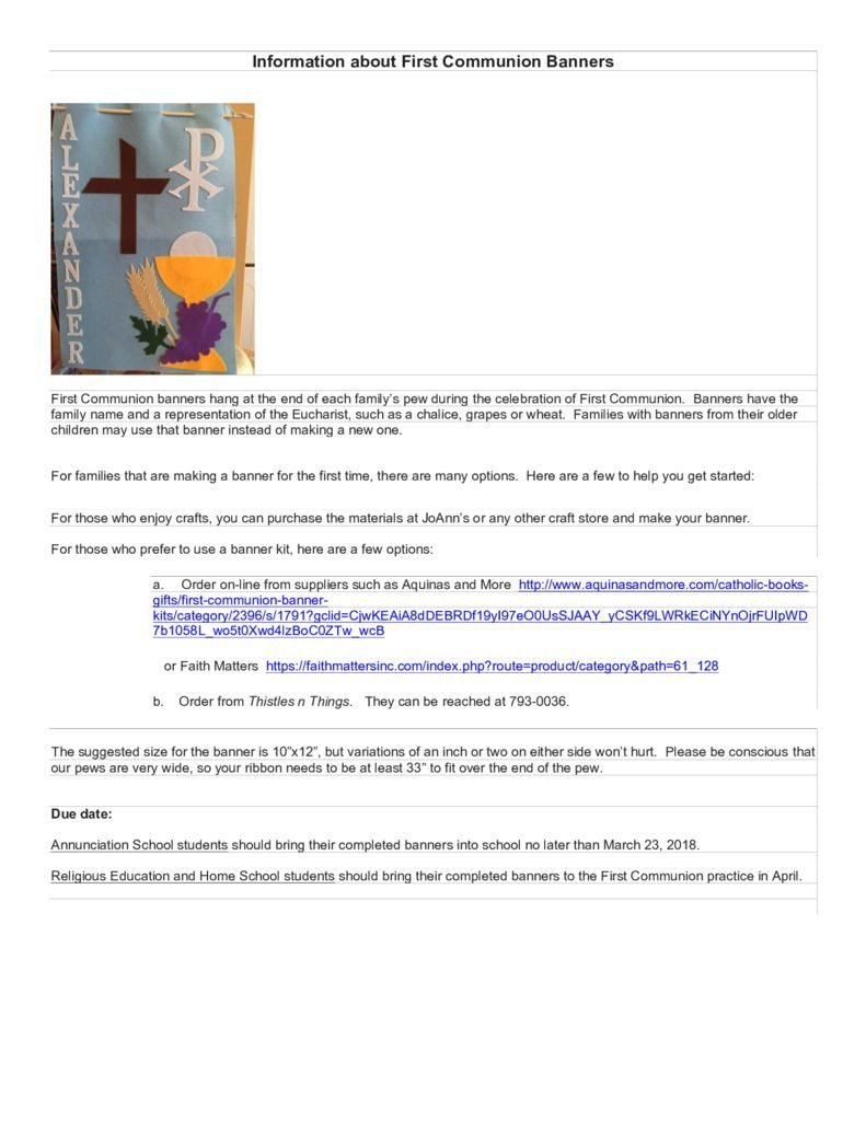 thumbnail of Information about First Communion Banners 2018