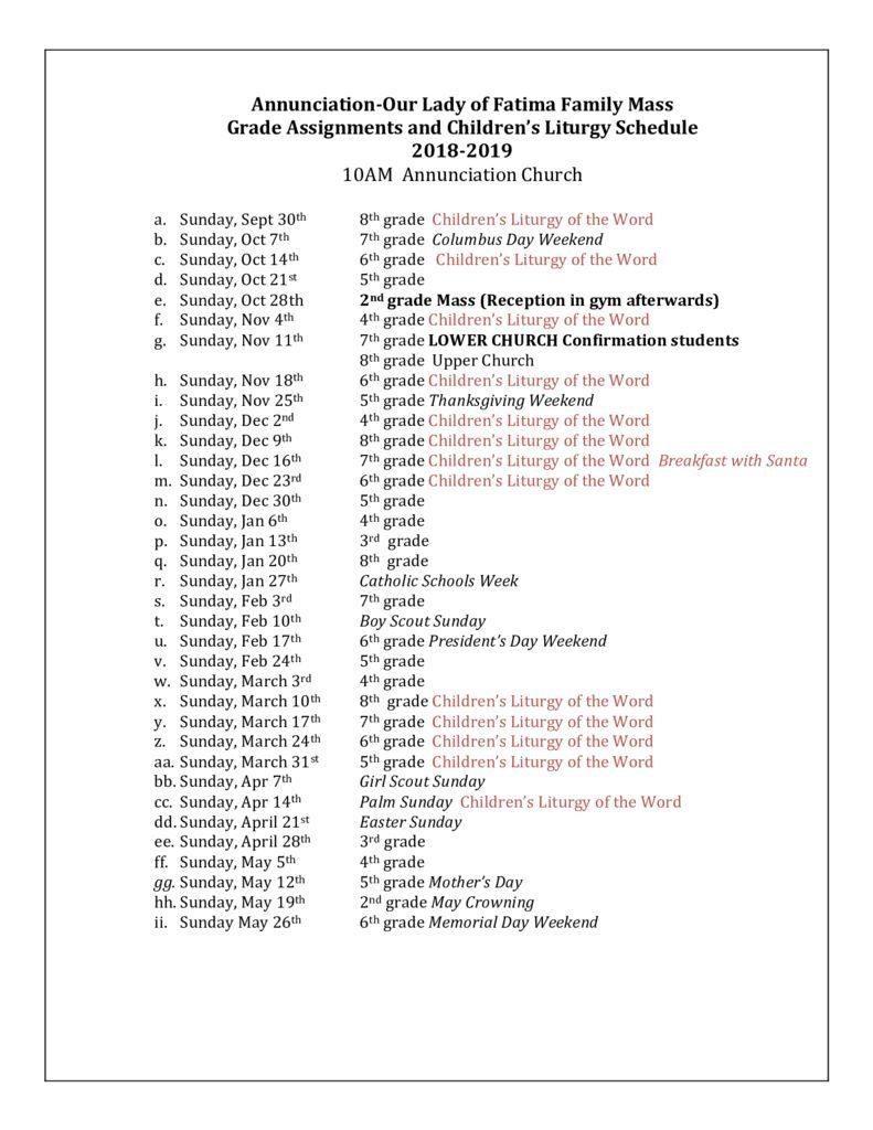 thumbnail of Childrens Liturgy Fam Mass schedule 2018 19