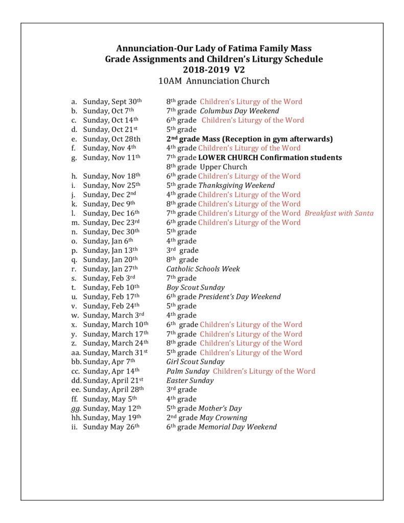 thumbnail of Childrens Liturgy Fam Mass schedule 2018 19 v2