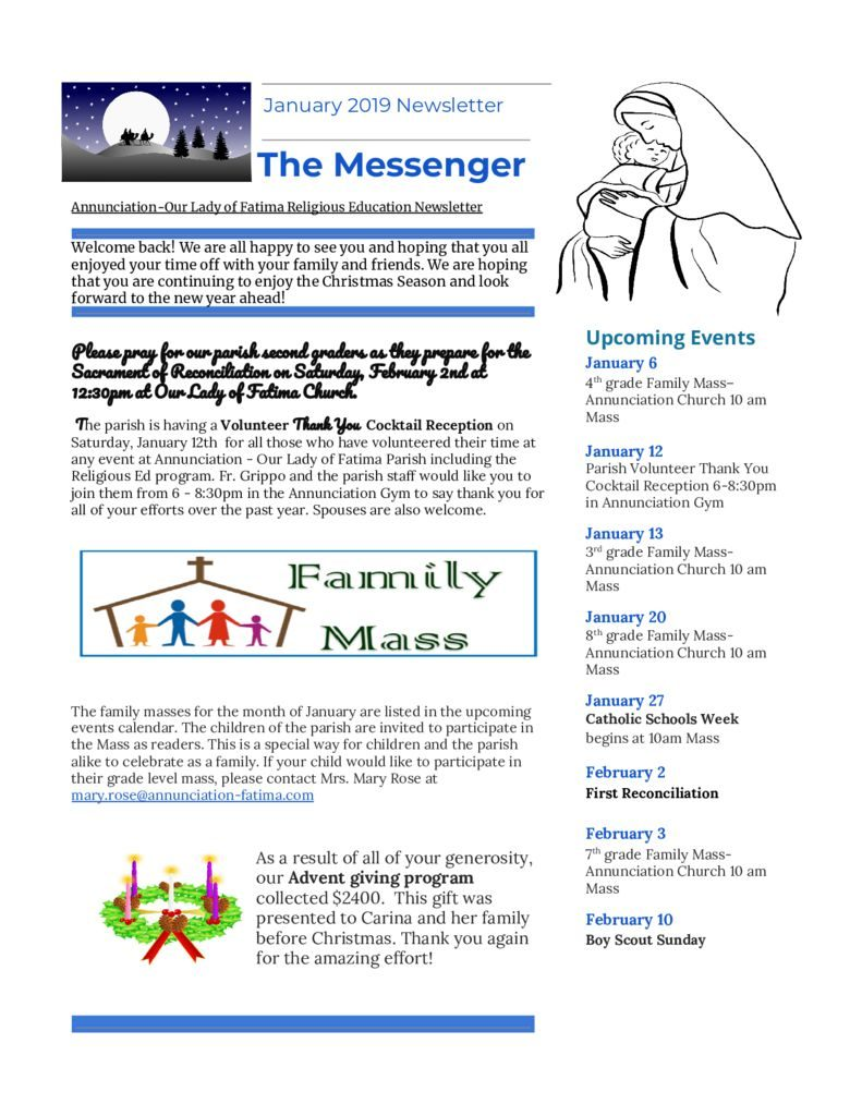 thumbnail of Religious Ed Newsletter- Jan2019