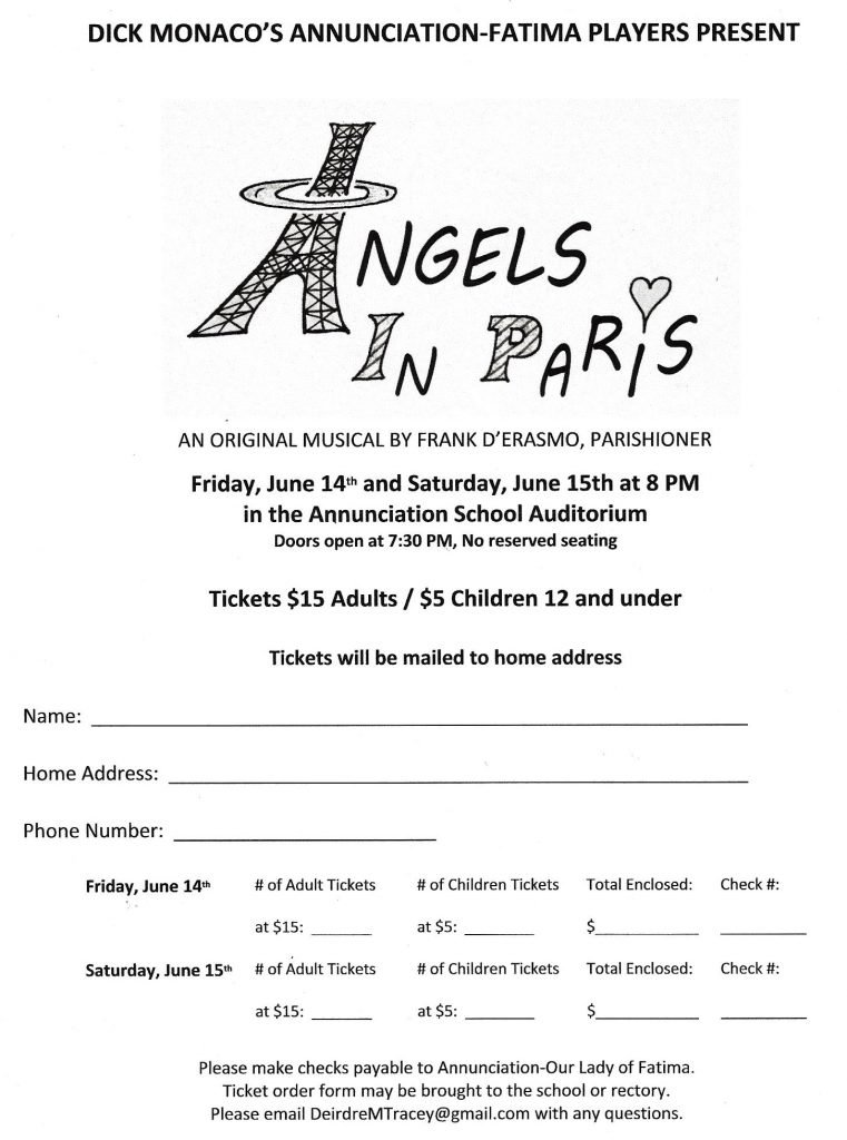 """A-OLF Players' """"Angels in Paris"""" @ Annunciation Gym"""