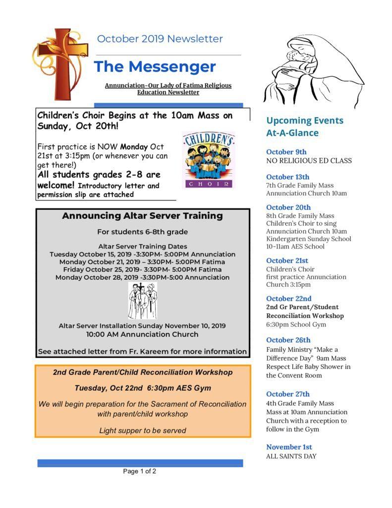 thumbnail of Religious Ed Newsletter-Oct2019