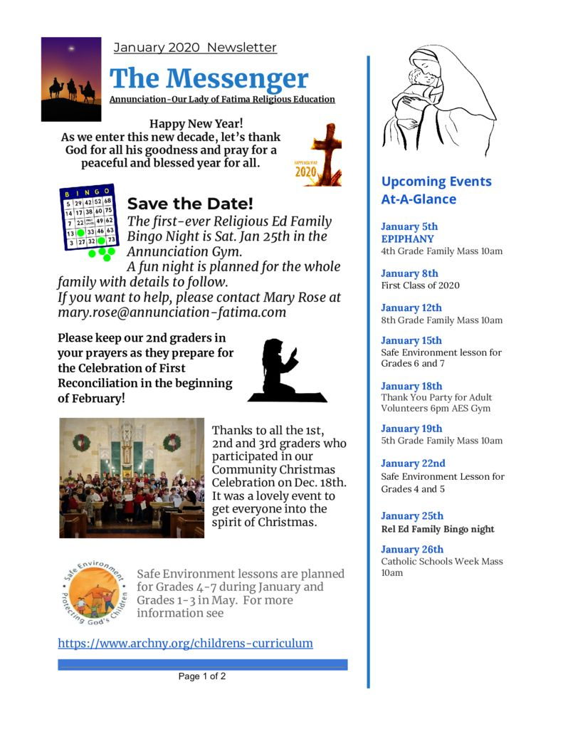 thumbnail of Religious Ed Newsletter-Jan 2020